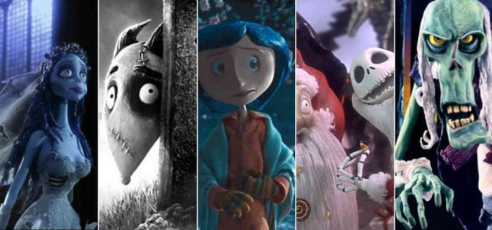 Stills from Corpse Bride, Frankenweenie, Coraline, and others
