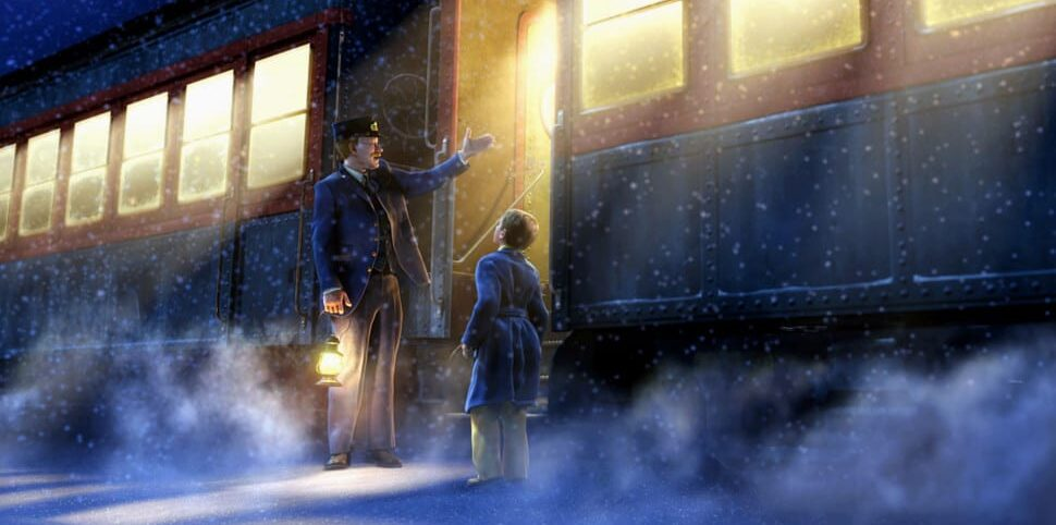 Standing next to the Polar Express, the boy gazes up at the conductor, who is explaining what the Polar Express is