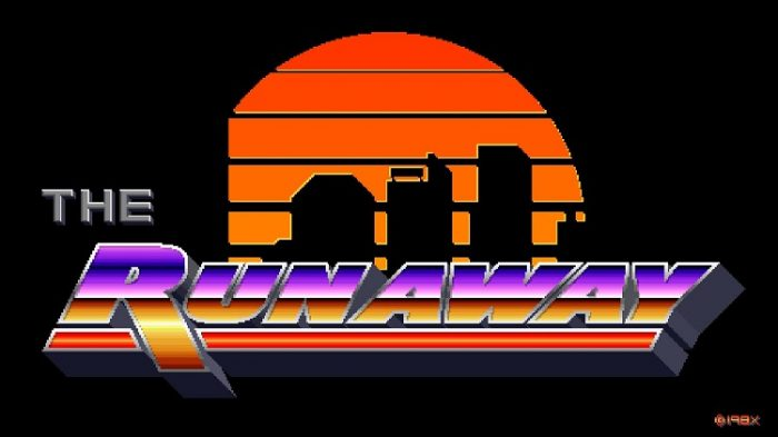 The Runaway 80s gaudy logo and orange sunset backdrop