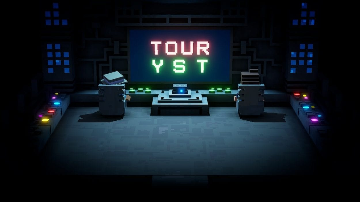 Two tourists sit at a giant console where the word TOURYST is spelled out.