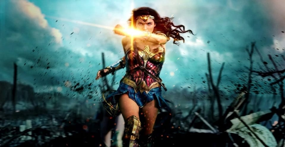 Wonder Woman marching out into No Man's Land, blocking a bullet with her armour.