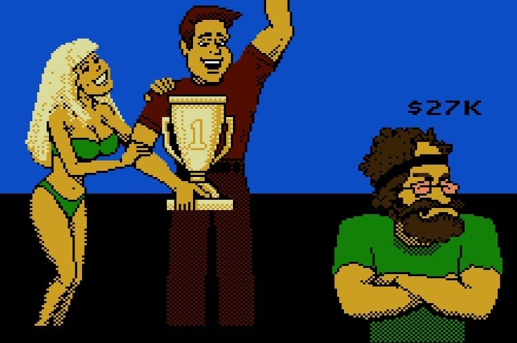 You receive a trophy from a blonde in a bikini, as the hippie guy scowls.