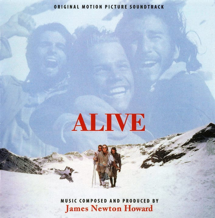 The cover of the Alive soundtrack features figures in a snowy landscape