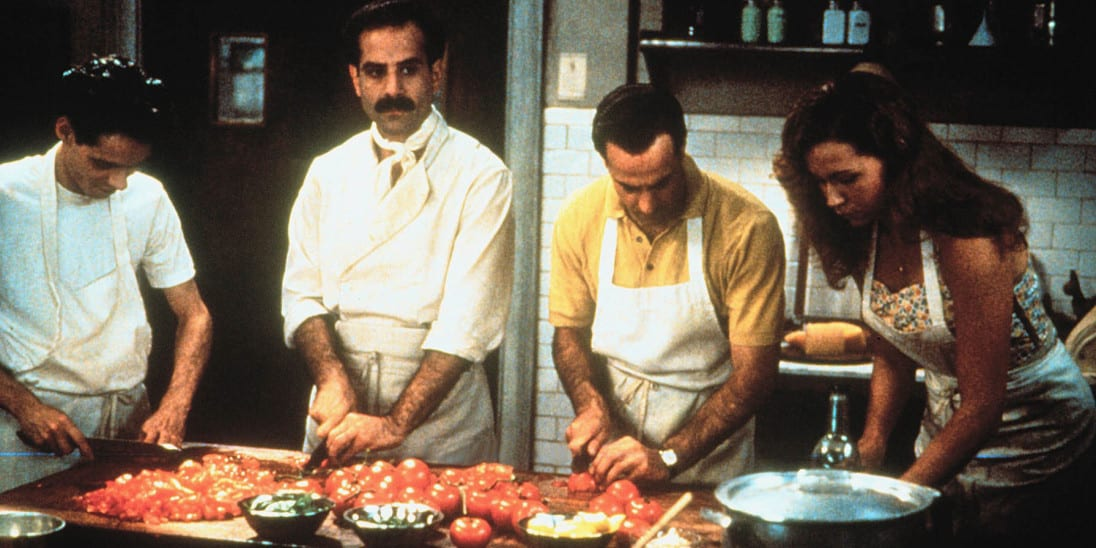 Primo, Secondo, Phyllis and Antonio prepare food for the big night