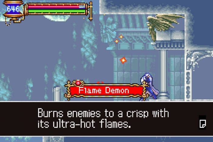 "Soma absorbs a Flame Demon's soul, and the game informs you it ""Burns enemies to a crisp with ultra- hot flames."""
