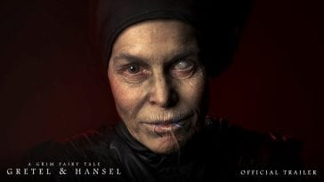 The witch has a white eye and messed up mouth in Gretel & Hansel