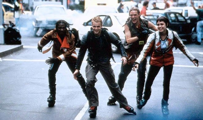Four hackers roller skate on the run from the Secret Service.