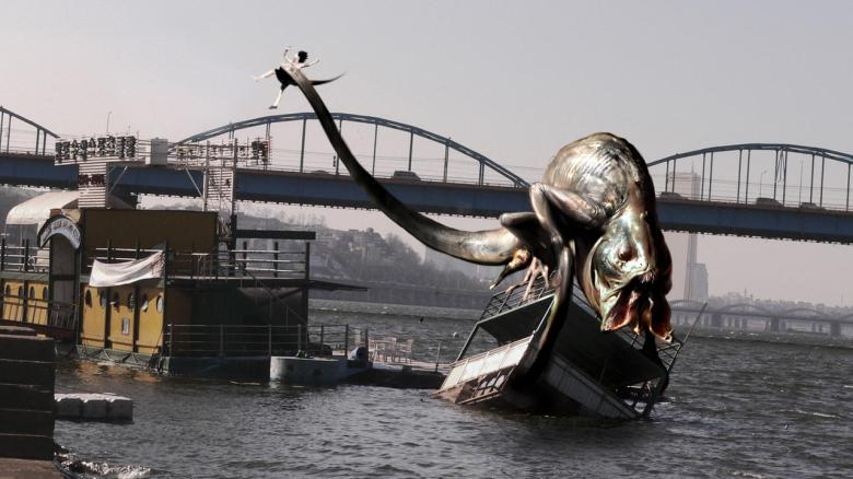 The Host takes Hyun-seo in it's tail across the Han River