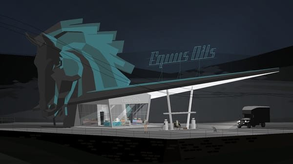 Conway stands in the parking lot of Equus Oils, a gas station with a large horse head on top