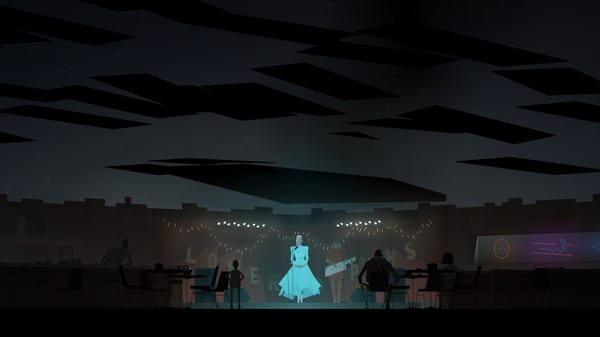 Conway, Ezra, and others watch Johnny and Junebug perform. Junebug wears a glowing blue dress and the ceiling is in the process of opening up to reveal the night sky.
