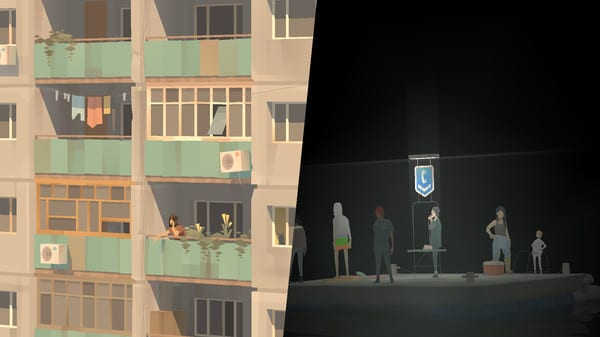 The screen is split. The left half shows a woman talking on the phone on the balcony of her dingy apartment building. The right shows various characters on a raft with a telephone booth. One of them is talking on the phone.