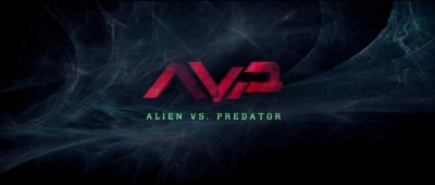 A movie poster with the letters AVP over the words Alien vs Predator