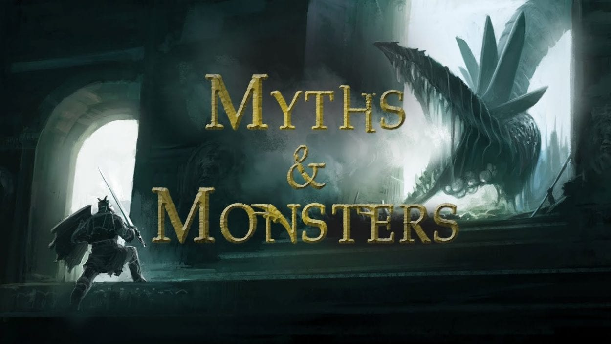 A knight faces a dragon on the title card for Myths & Monsters