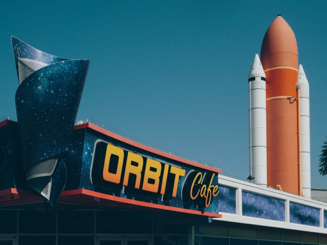 Orbit Cafe front with orange rocket