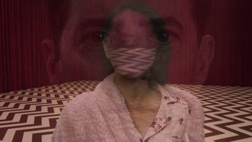 Image from cover of Nochimson's book, Television Rewired, showing Dale Cooper's face superimposed on Diane's tulpa's face in the Red Room