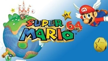 promotional art for the game, with mario in a flying hat, flying above earth in the sky