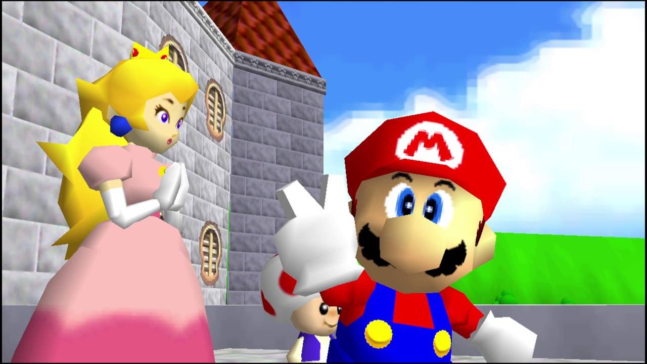Mario at the end of the game standing next to peach, looking at the player and doing a peace sign