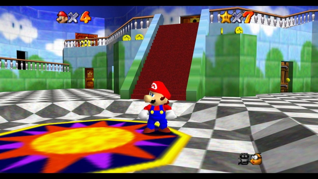 mario standing in the hub world of the game, the lobby of peach's castle, looking towards the player