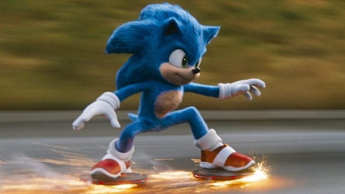 Sonic skates on two flying discs