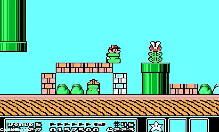 Mario hops about in a shoe. A Goomba in a shoe is under some blocks under him and a Piranha Plant is coming out of a pipe.