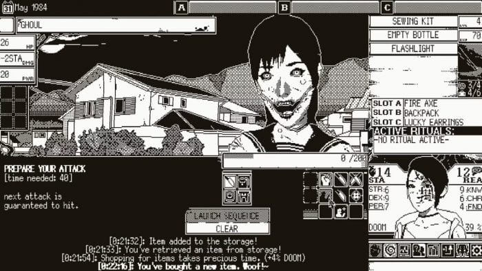 "The player confronts a ""ghoul,"" a woman with a slashed face. Various pieces of information encircle the UI."