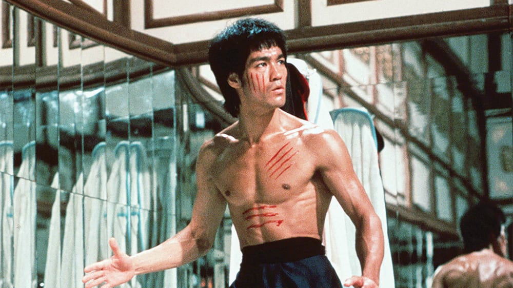 A cut-up Bruce Lee stalks his prey in a mirrored room
