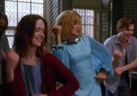 """Sister Jude and the inmates dancing, during Jude's """"Name Game"""" hallucination"""