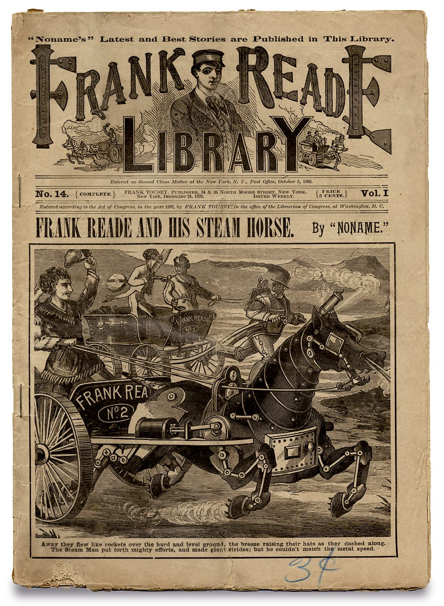 A steam powered horse drives a chariot on the cover of Frank Reade's library magazine.