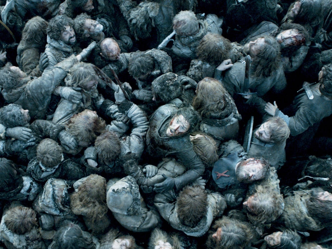 Jon Snow makes his way through a sea of humanity