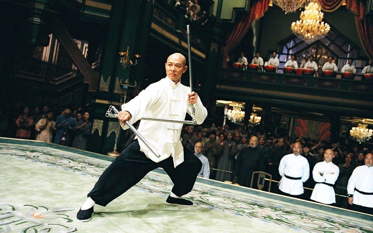 Jet Li with a three-part nunchaku