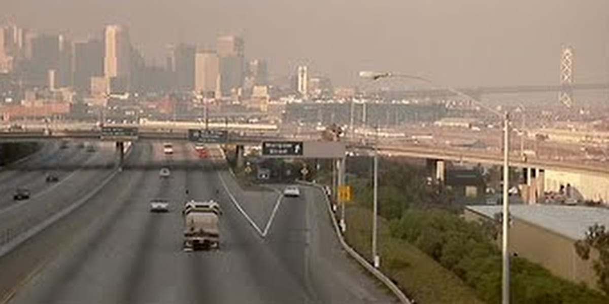 Jack Burton's truck driving towards the city on San Francisco in Big Trouble in Little China
