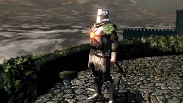 Solaire stands proudly, staring at the distant and grossly incandescent sun.