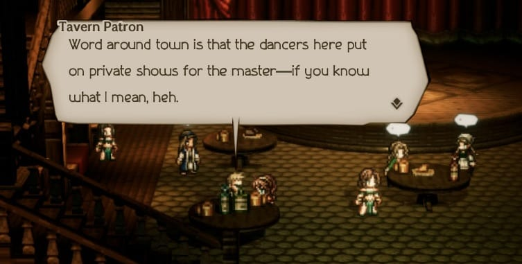A patron implies the dancers do more than dance with the patrons.