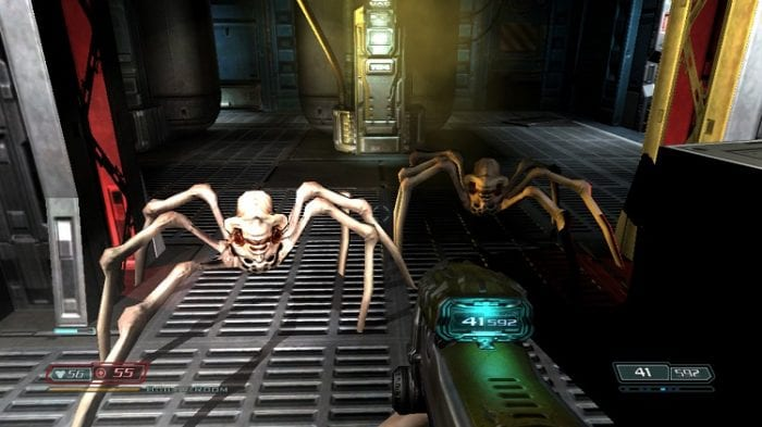 Doom Guy squares off with demon spiders.