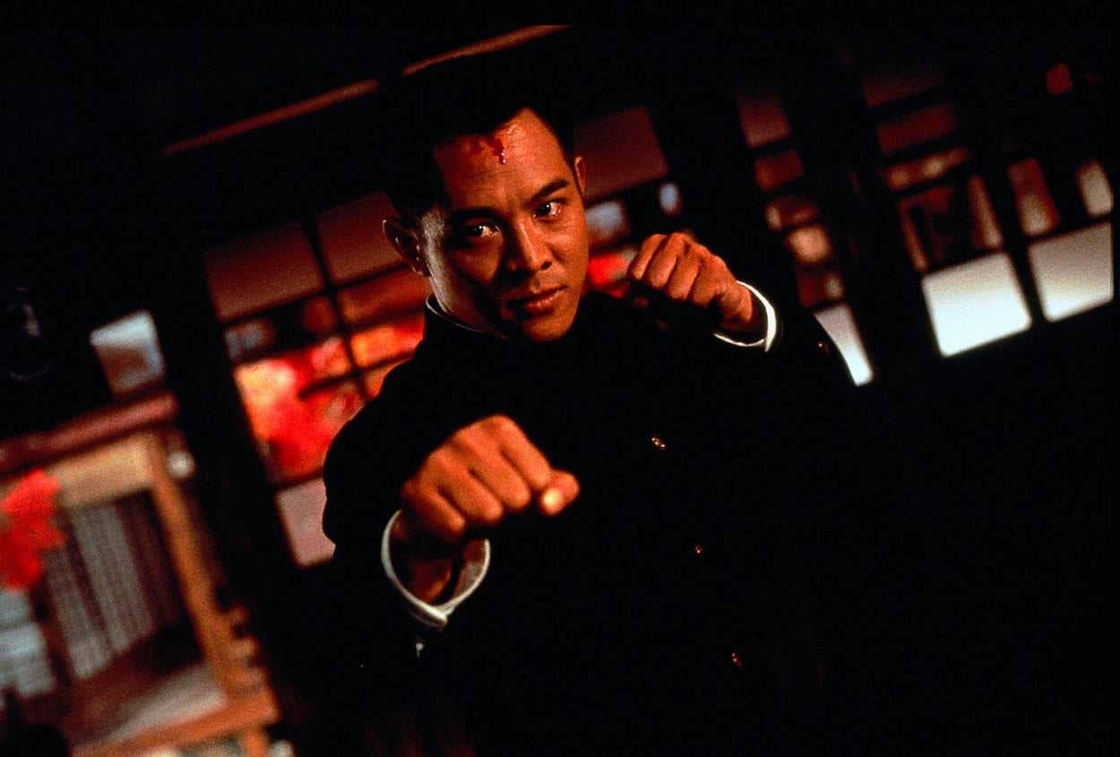 Jet Li with his legendary fist clenched
