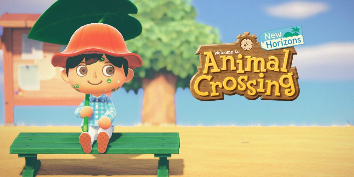 An Animal Crossing villager sits on a bench with the AC logo next to him