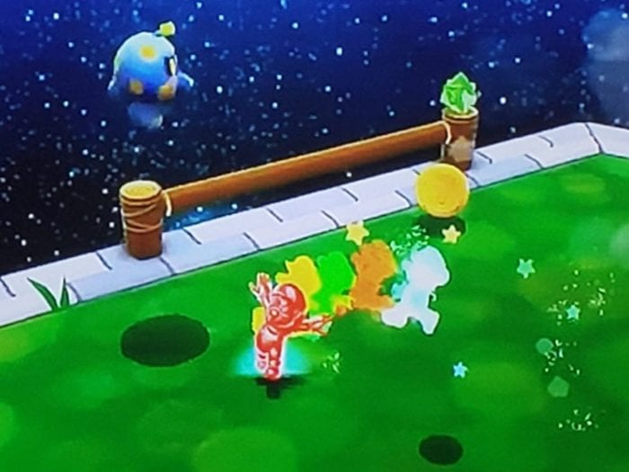 Mario is invincible when he uses the Rainbow Star