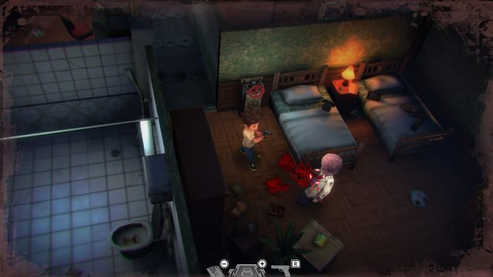 Shooting a zombie in a bedroom in the mansion.