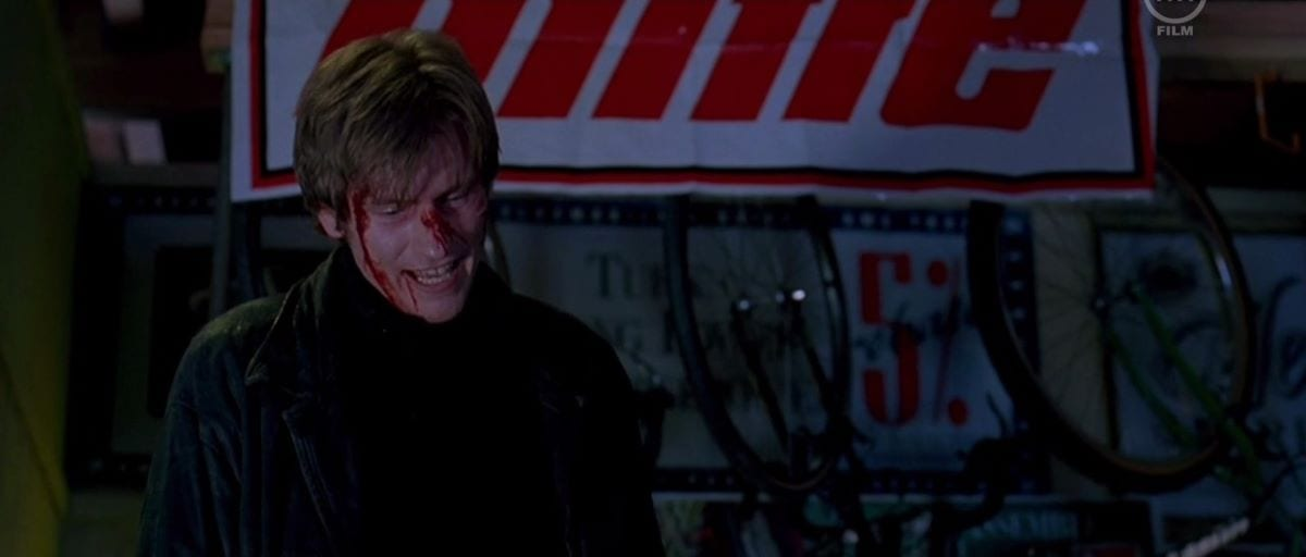 The villanous Fallon played by Denis Leary gets bloodied at the climax of Judgement Night