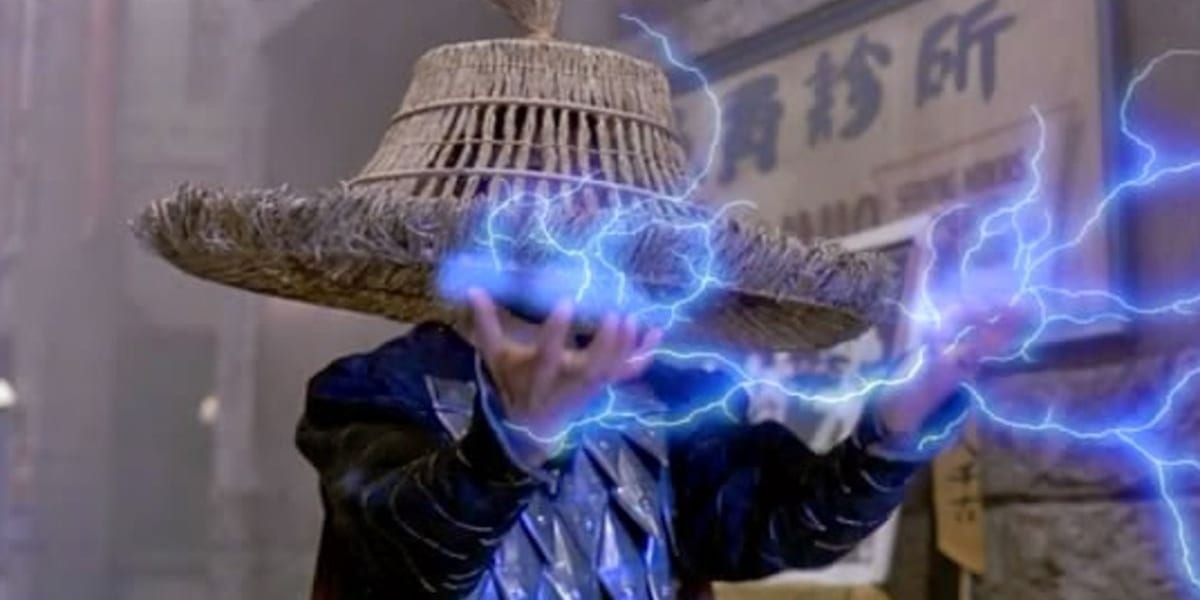 Lightning in Big Trouble in Little China holding out his hands with lightning upon them