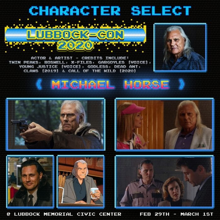 Promotional ad featuring special guest actor Michael Horse for Lubbock-Con 2020.