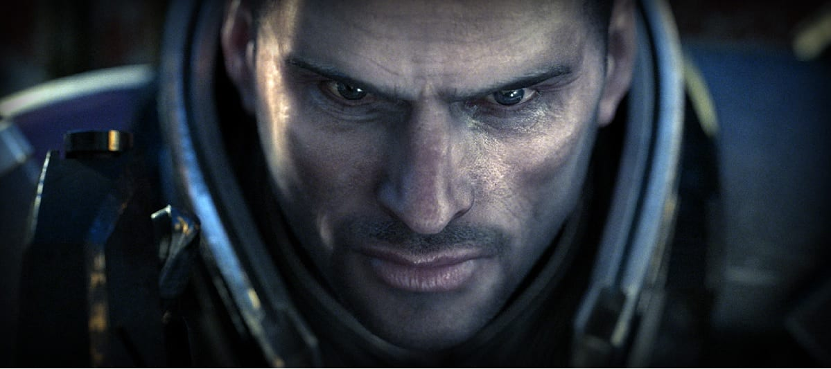Close up of Mass Effect protagonist