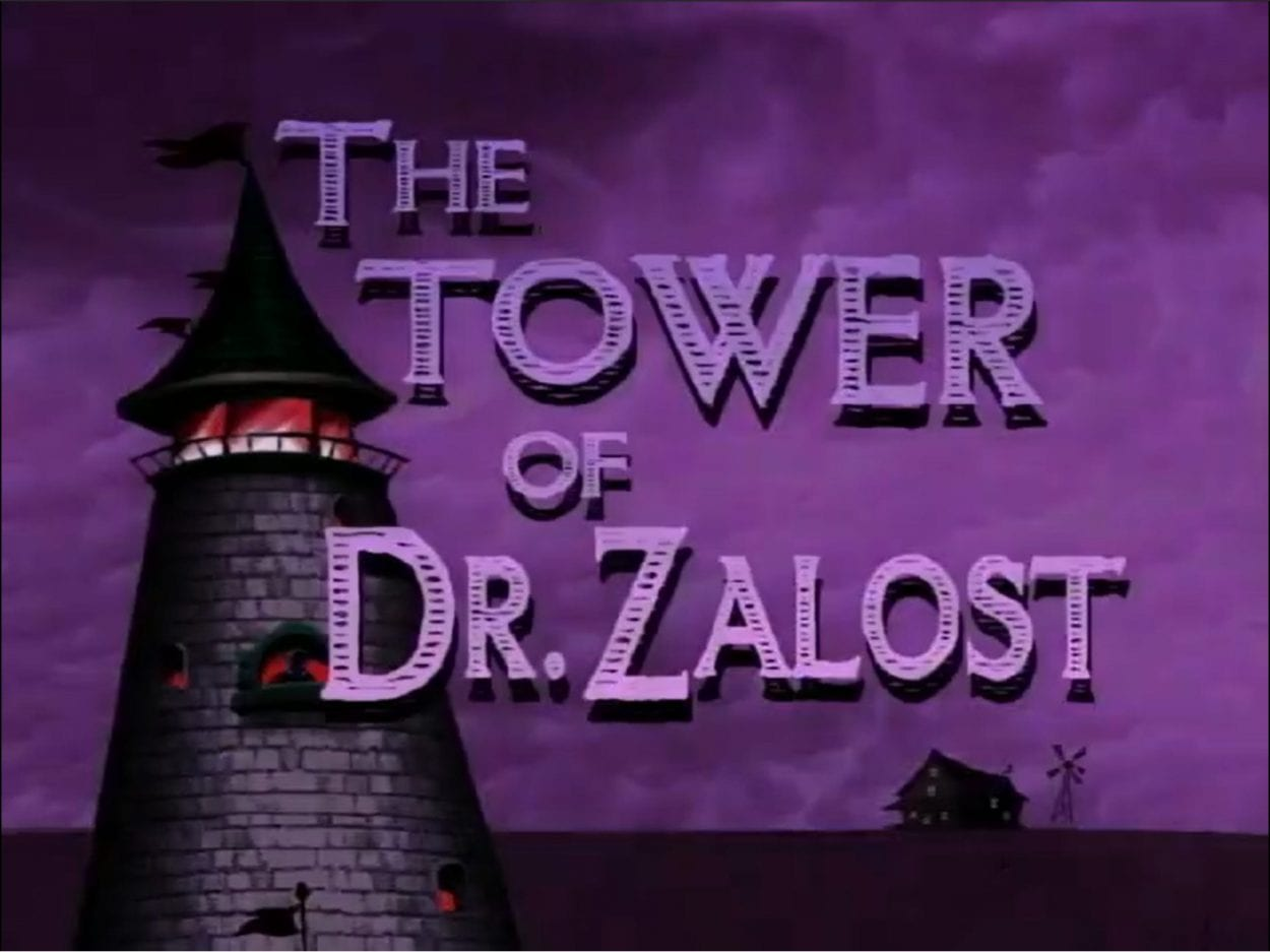 The title card for the episode, it has an image of a tower against a purple backdrop, with the title of the episode in the foreground