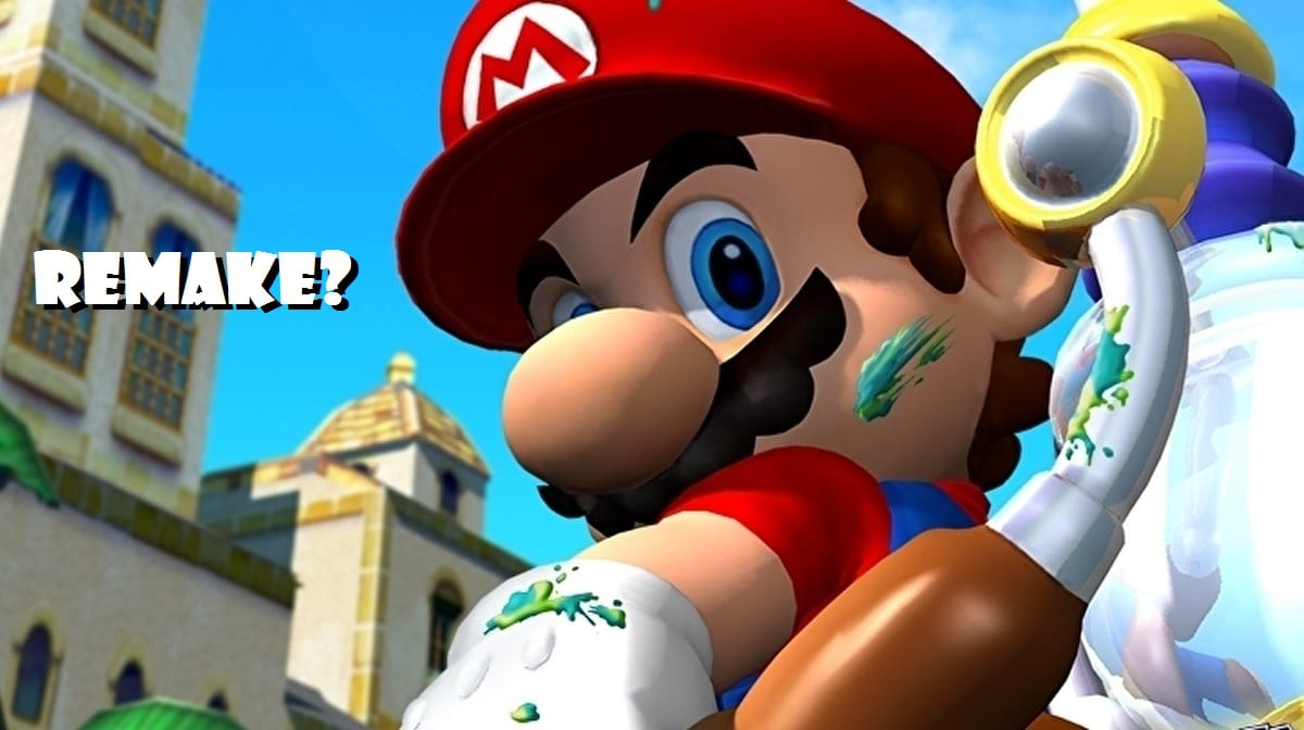 Super Mario Sunshine image of Mario and his FLUDD device