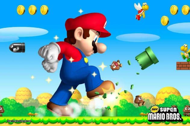 A giant Mario stomping through enemies and warp pipes in New Super Mario Bros