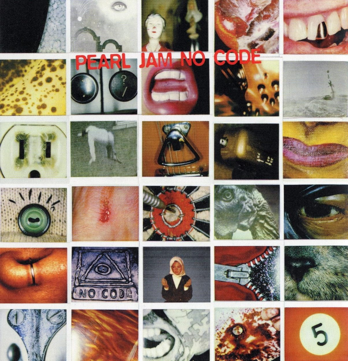 A six-by-five grid of small polaroid pictures, with Pearl Jam No Code written in red font.