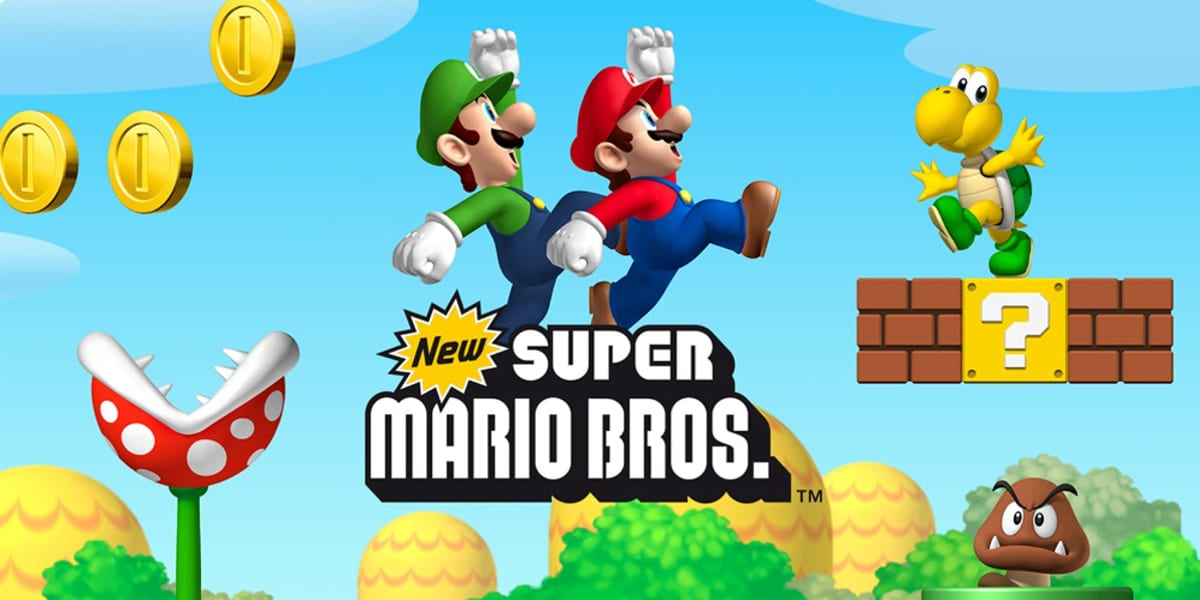 Title Screen for New Super Mario Bros. Mario and Luigi jump, a piranha plant comes out of a pipe, a Goomba walks side to side, and a Koopa Troopa cheerfully waves at the camera.