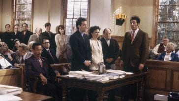 Jerry, Elaine, George, and Kramer appear in court in the Seinfeld finale episode