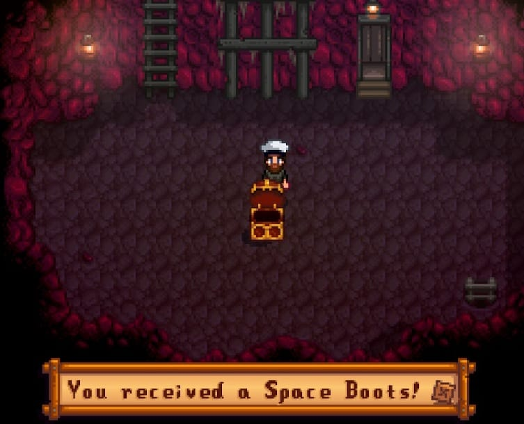 You find Space Boots in the mines.