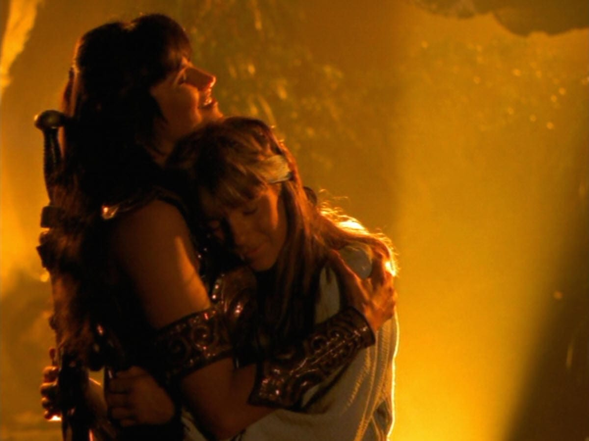 Xena embraces her son Solan